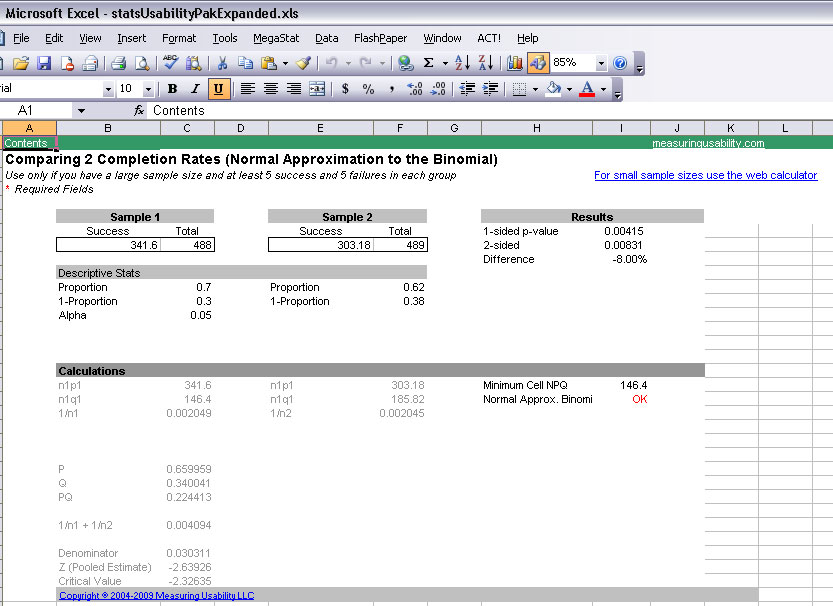 Usability Statistics Package