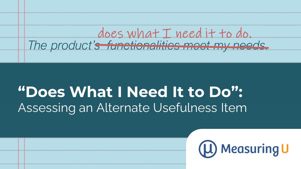 """""""Does What I Need It to Do"""": Assessing an Alternate Usefulness Item"""